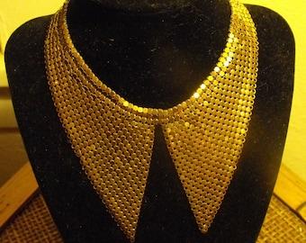Trendy Pointed collar mesh necklace  Bib collar choker  Marlene Dietrich mesh collar