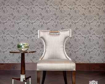 Debutante Lace Small Wall Stencil Chic Damask Wallpaper Look