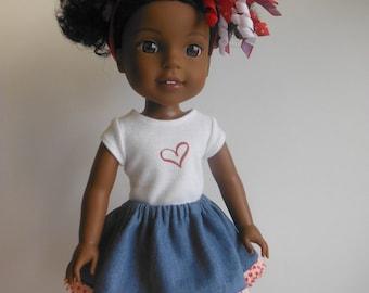 Wellie Wisher Valentine Outfit; Valentine's outfit for Wellie Wisher; 14 inch Doll Clothes; Valentine's doll shirt
