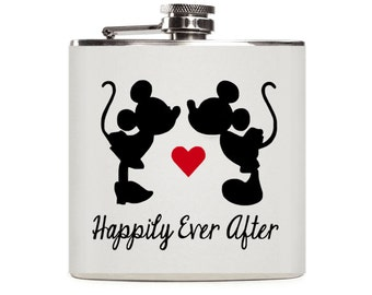 Disney Flask, Mickey and Minnie Mouse, Disney Wedding Favor, Happily Ever After, Stainless Steel 6oz Hip Flask