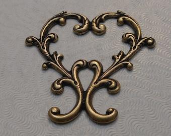 LuxeOrnaments Oxidized Brass Filigree Art Nouveau Heart Connector 37x37mm (1 pc) F-A14028-B