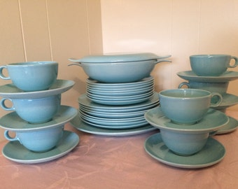 36 Piece Pebbleford Taylor Smith Taylor Turquoise Gilkes Oven Proof 11-55 Complete set Dinner and Lunch Plates Cups and saucers 50s Kitchen