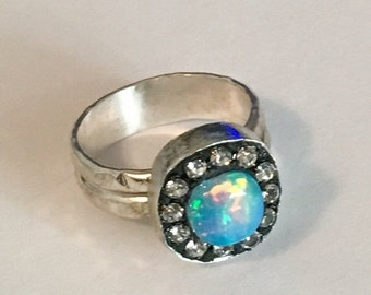 HOLIDAY SALE Gorgeous fire ethiopian opal sterling silver ring