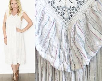 Vintage White Cotton Gauze Dress , Grecian Gauze Dress , Crochet Gauze BOHO Dress , BOHO Sun Dress , Lurex Gauze Dress