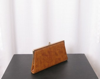 Lovely Brown Faux Leather Convertible Clutch