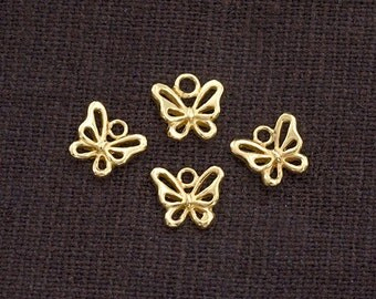 4 of 925 Sterling Silver 24K Gold Vermeil Style Small Butterfly Charms 6.5x8 mm.  :vm0816