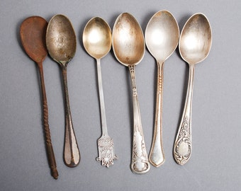 Lot of 6 Antique different silver tone metal tea or coffee spoons, 1900-1980s