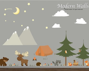 Mountain Camping Forest Decal set with Woodland Animals, Moon, Stars, Pine Tree's, Moose, Bear, Fox-Children Wall Decals-Nursery Art-e47
