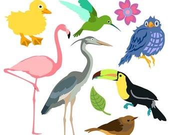 Bird Clipart, Bird Clip Art, Flamingo Clipart, Toucan Clipart, Robin Clipart, Songbird Clipart, Blue Jay Clipart, Duckling Clipart