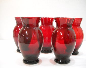 Vintage Lot Of 5 Dark Ruby Red Glass Vases Anchor Hocking Glass Vases