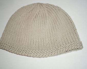 Baby Grey Cotton Knit Hat (0-6 mos)