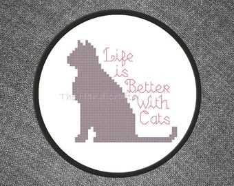 Life is Better With Cats Cross Stitch Pattern