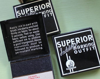 Vintage Tin Box,  Superior Marking Outfit Tin, Black, Great Graphics, Original Box, Set of THREE, New, Old Stock, PRICE REDUCED