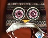 "Hoo Hat -Upcycled Wool Owl Hat -Size Medium (18.5-20.75"" head)"