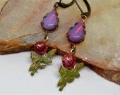 Beauty and the Beast, Rose Earrings, ENchanted Rose, Belle Rose Earrings Fairy Tale Rose Earrings