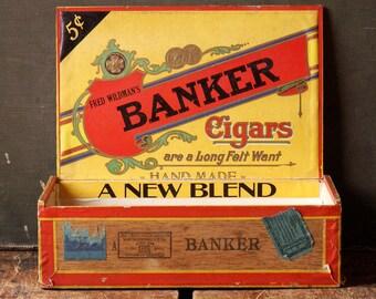 Vintage Banker Wood Cigar Box - Perfect Stash Spot!