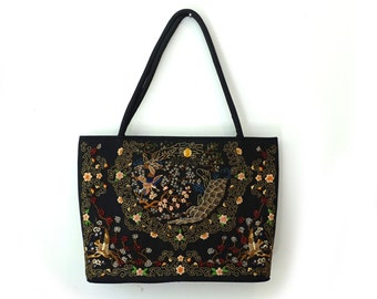 Vintage Chinese beaded and embroidered black silk tote bag, embellished tote