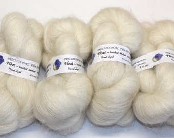 Kid Mohair brushed yarn undyed natural