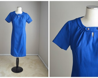 vintage 50s 60s royal blue shift dress -- womens medium- 38-34-44