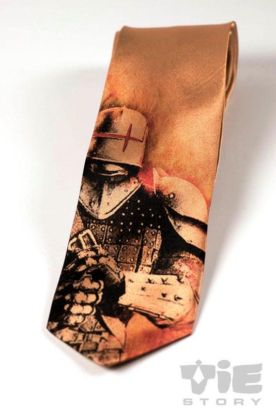 Dark knight gothic tie. This steampunk necktie. Medieval knight and armor tie.