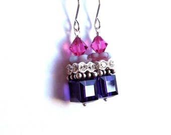 Violet crystal cube earrings - Sterling Silver, dark purple fuchsia Austrian crystal, bead stack layer earrings, unique crystal bead jewelry