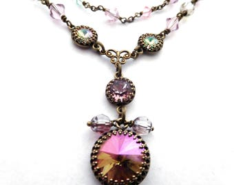 Crystal chain layer necklace, mauve pastel rhinestone pendant, antiqued brass, all Austrian crystal, vintage style jewelry gift for her