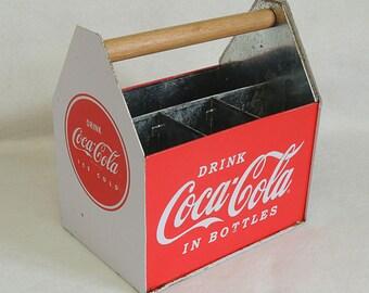 Vintage Coca-Cola Metal Bottle Carrier Caddy Holder