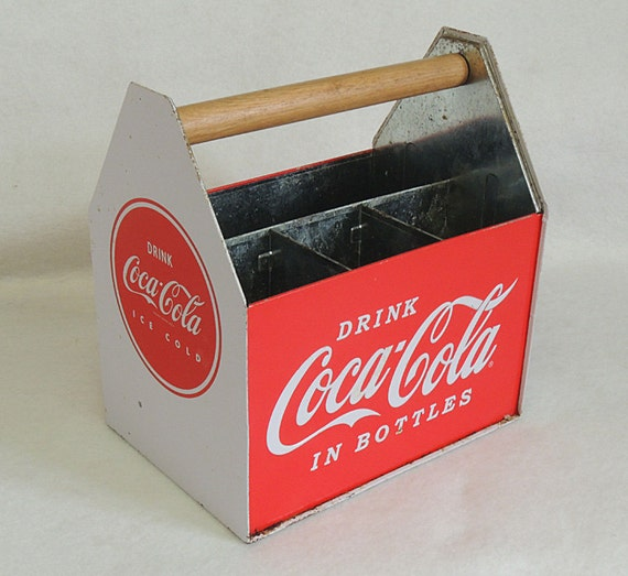 Vintage Coca-Cola Metal Bottle Carrier Caddy Holder