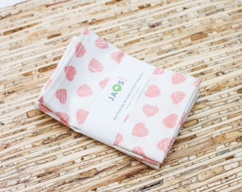 Small Cloth Napkins - Set of 4 - (N5186s) - Pink Hearts Modern Reusable Fabric Napkins