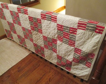 Vintage Patchwork Quilt/Stripes/Polka Dots