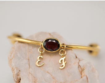 40 OFF - Personalized Charm Bangle - Garnet Bracelet - Gemstone Bangles - January Birthstone Bangles - Initial Charm Bracelets