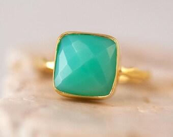 40 OFF - Chrysoprase Ring - Sea foam Green Ring - Gemstone Ring - Stacking Ring - Gold Plated - Cushion Cut Ring