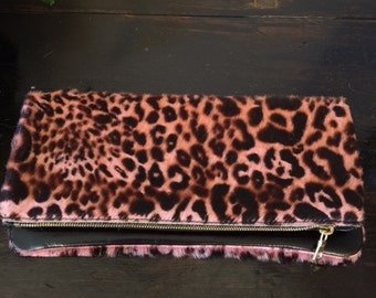 Pink Leopard Leather fold/over Clutch 11 x 11 1/2 INCHES