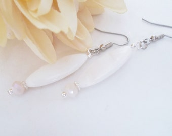 White Drop Earrings, Natural Ivory Pearl Shell Earrings, Clip Ons, Gift for Women, Mother of Pearl Jewelry, Daughter Birthday Gift for Her