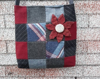 Wool patchwork bag, wool purse, wool penny rug purse