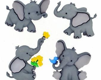 Tiny Trunks - Set of 4 Elephants Shank style Plastic Buttons by Jesse James Dress It Up Buttons- embellishments