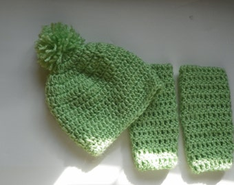 Baby Leg Warmers and Hat with a Pom Pom on it  Set Size is 3M-24M