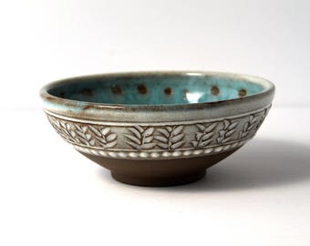 Dark Chocolate Clay Bowl with White and Blue Glaze, Handmade Wheel-Thrown