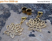 """ON SALE Lotus Flower Magnetic Clasp Gauged Earrings -  Sizes 2g - 1"""""""