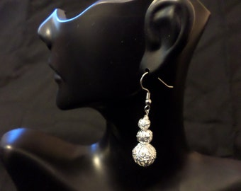 white silver iron filigree earrings