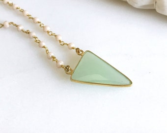Mint Arrow Choker Necklace with Pink Opal Stones.  Geode Necklace. Jewelry. Stone Necklace. Pink Aqua Gold Necklace.  Choker. Pendant.