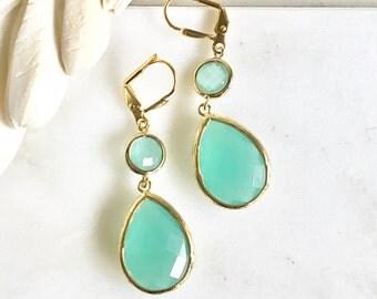 Aqua Teardrop Dangle Earrings. Fall Fashion Earrings. Turquoise Drop Earrings. Christmas Gift. Holiday Gift.