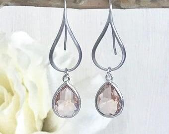 Silver Champagne Peach Drop Earrings.  Peach Silver Teardrop Drop Earrings.  Gift for Her.  Dangle Earrings. Modern Drop Earrings. Gift.