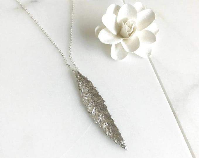Long Silver Leaf Necklace. Layering Necklace. Layered. Simple Long Necklace. Feather Leaf Necklace. Pendant Necklace. Charm Necklace.