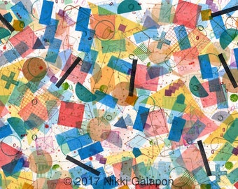 """Colorful geometric shapes and solids archival print 13""""x19"""" primary colors red orange yellow green blue purple brown black modern art"""