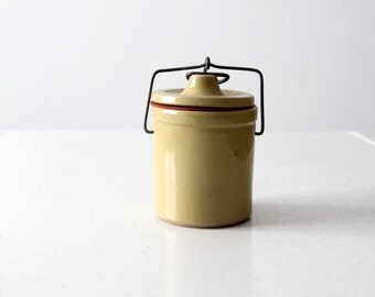 vintage stoneware ball lock jar, yellow ceramic canning jar
