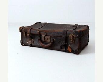 SALE vintage leather suitcase, thick hide black luggage