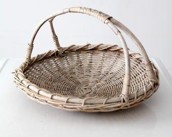 vintage gathering basket, white flower basket, harvest basket