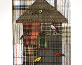 Little birds in the birdhouse modern textile folk art