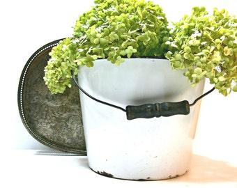 White Enamelware Bucket - Vintage Rustic White Enamel Pail with Black Handle - Farmhouse Country Primitive Kitchen Decor